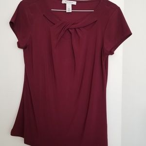 WHBM Raspberry Twist Neck Blouse With Cut Out